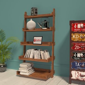 GrayWood Wooden Furniture 5 Tier Bookcase Ladder Shelf